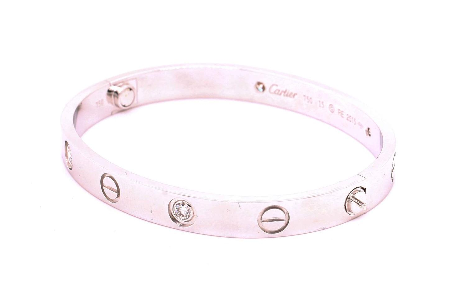 An authentic 18ct white gold 4 diamond Cartier Love bracelet / bangle with original screw, box and - Image 4 of 4