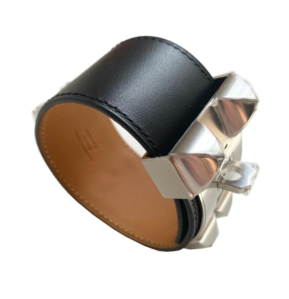 A Hermes Bracelet Collier de Chien black in swift leather with silver hardware. Includes Box. Size - Image 3 of 5