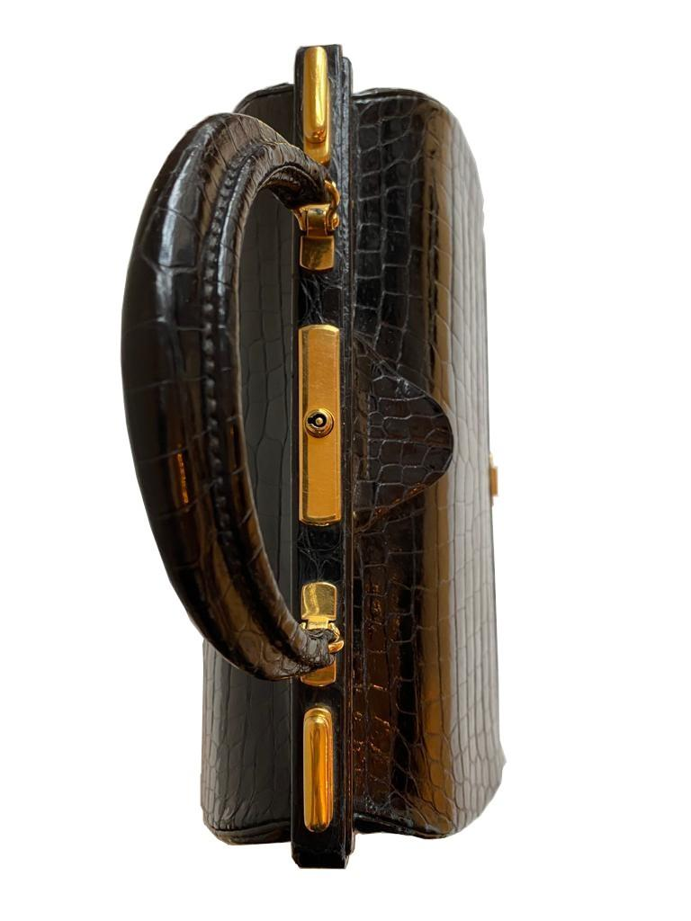 A Hermes Mallet Bag in black shiny Crocodile with gold hardware. Believed to be from the 1960's. - Image 8 of 9