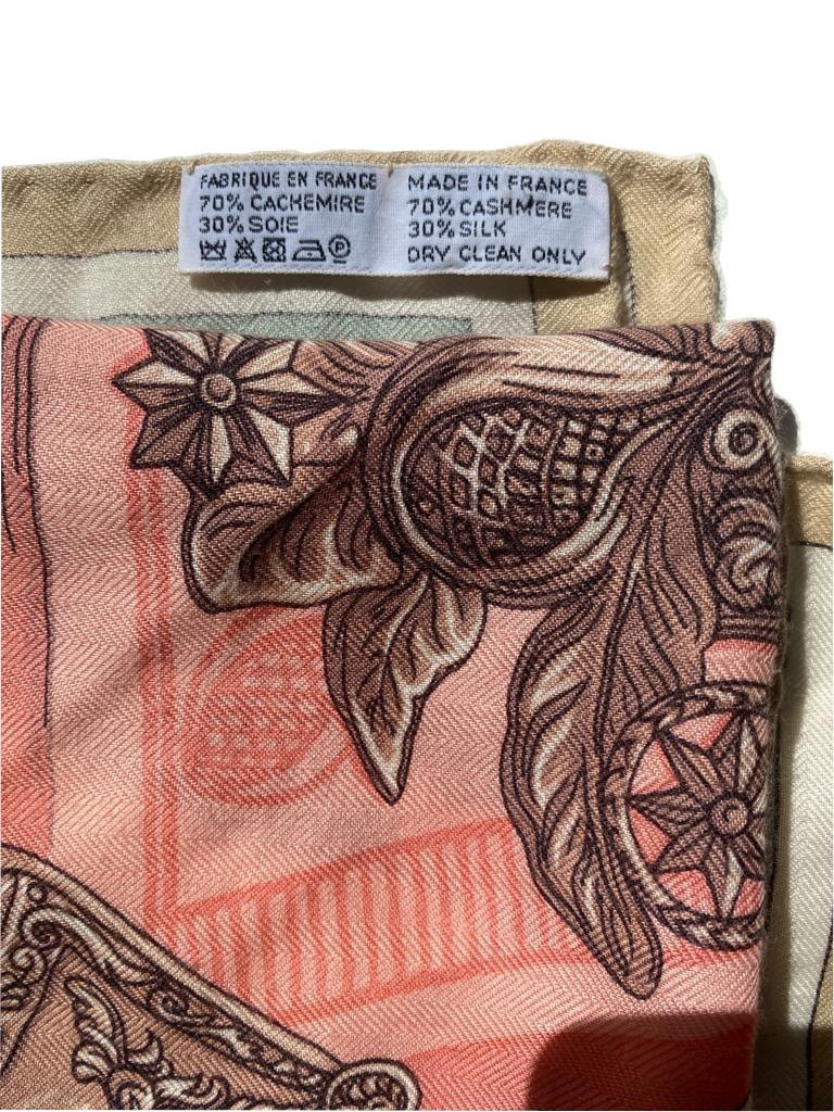 A Hermes Shawl Duo d'Etriers Off White/Aqua/Pink, 70% Cashmere, 30% Silk. Stamp Date 2017, 140cm x - Image 3 of 3