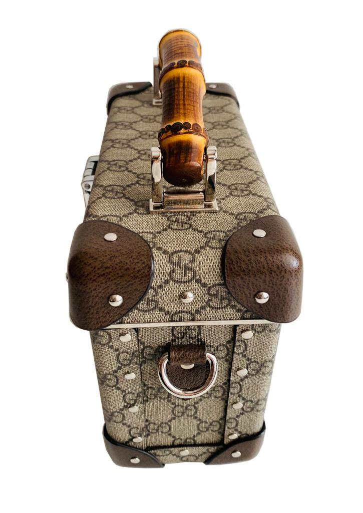 A Gucci Globe Trotter beauty case GG canvas with leather trim and bamboo handle. Includes Strap & - Image 2 of 10