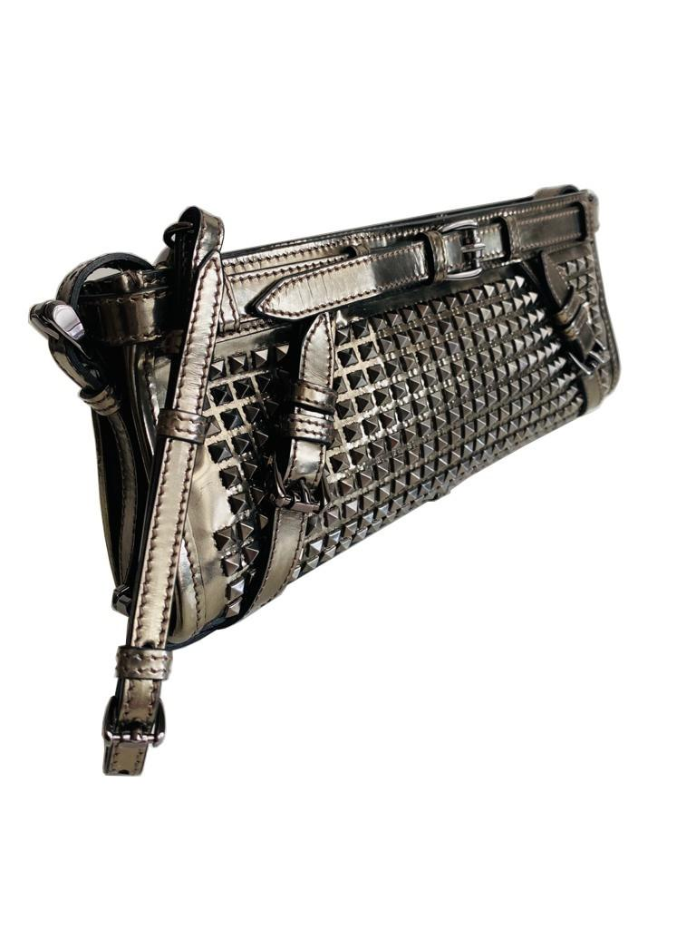 A Burberry metallic Clutch in Pewter Patent leather with silver hardware. Includes Dustbag, - Image 6 of 6