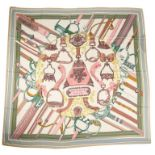 A Hermes Shawl Duo d'Etriers Off White/Aqua/Pink, 70% Cashmere, 30% Silk. Stamp Date 2017, 140cm x