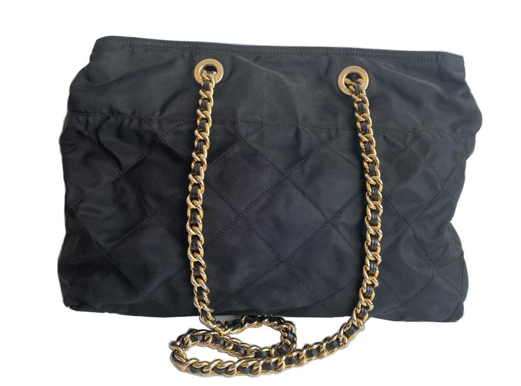 A Prada Tessuto black quilted nylon with gold hardware. W.36cm x H.27cm x D.10cm - Image 2 of 7
