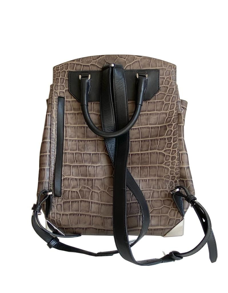 An Alexander Wang Prisma Skeletal Leather embossed Crocodile Backpack with silver hardware. Includes - Image 2 of 11