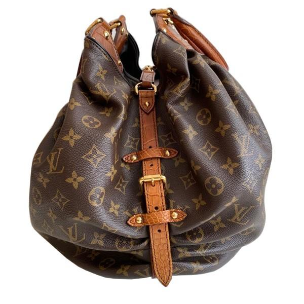 A Louis Vuitton Mahina XL Crocodile Trim Tote in Monogram canvas leather and gold hardware. Includes - Image 14 of 16