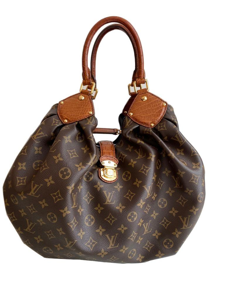 A Louis Vuitton Mahina XL Crocodile Trim Tote in Monogram canvas leather and gold hardware. Includes - Image 3 of 16