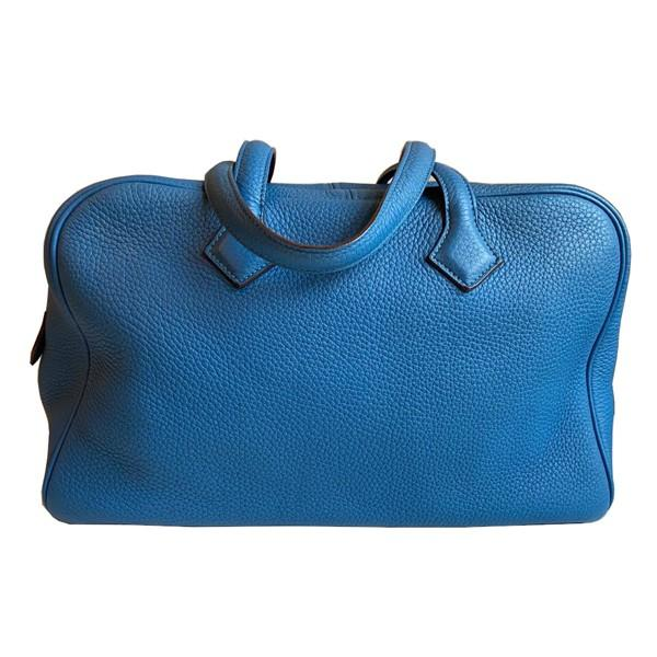 An Hermes Bleu de Galice Victoria II in clemence leather with palladium hardware. Includes - Image 10 of 11