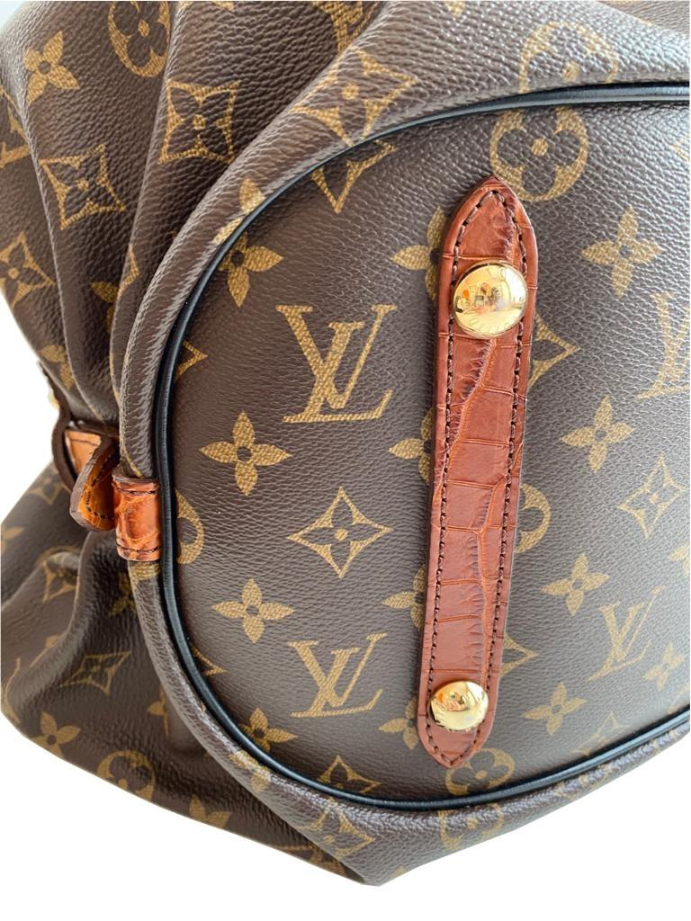A Louis Vuitton Mahina XL Crocodile Trim Tote in Monogram canvas leather and gold hardware. Includes - Image 8 of 16