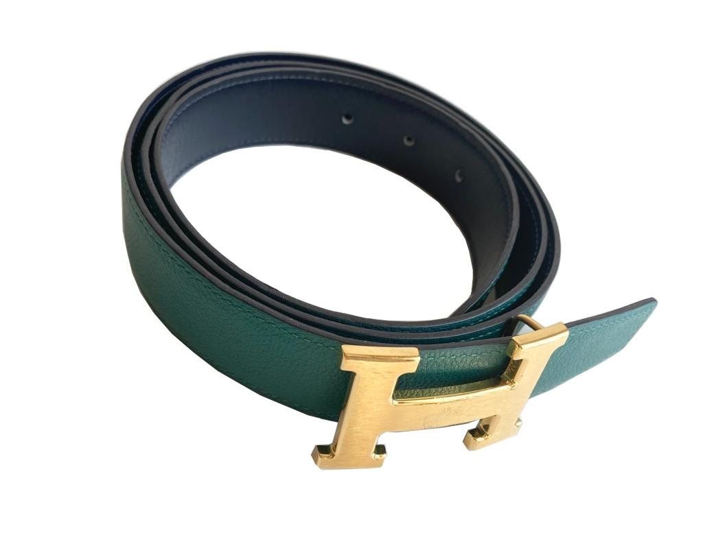A Hermes Constance Reversible Belt Malachite & Dark Blue Epsom/Swift leather with gold hardware. - Image 3 of 5