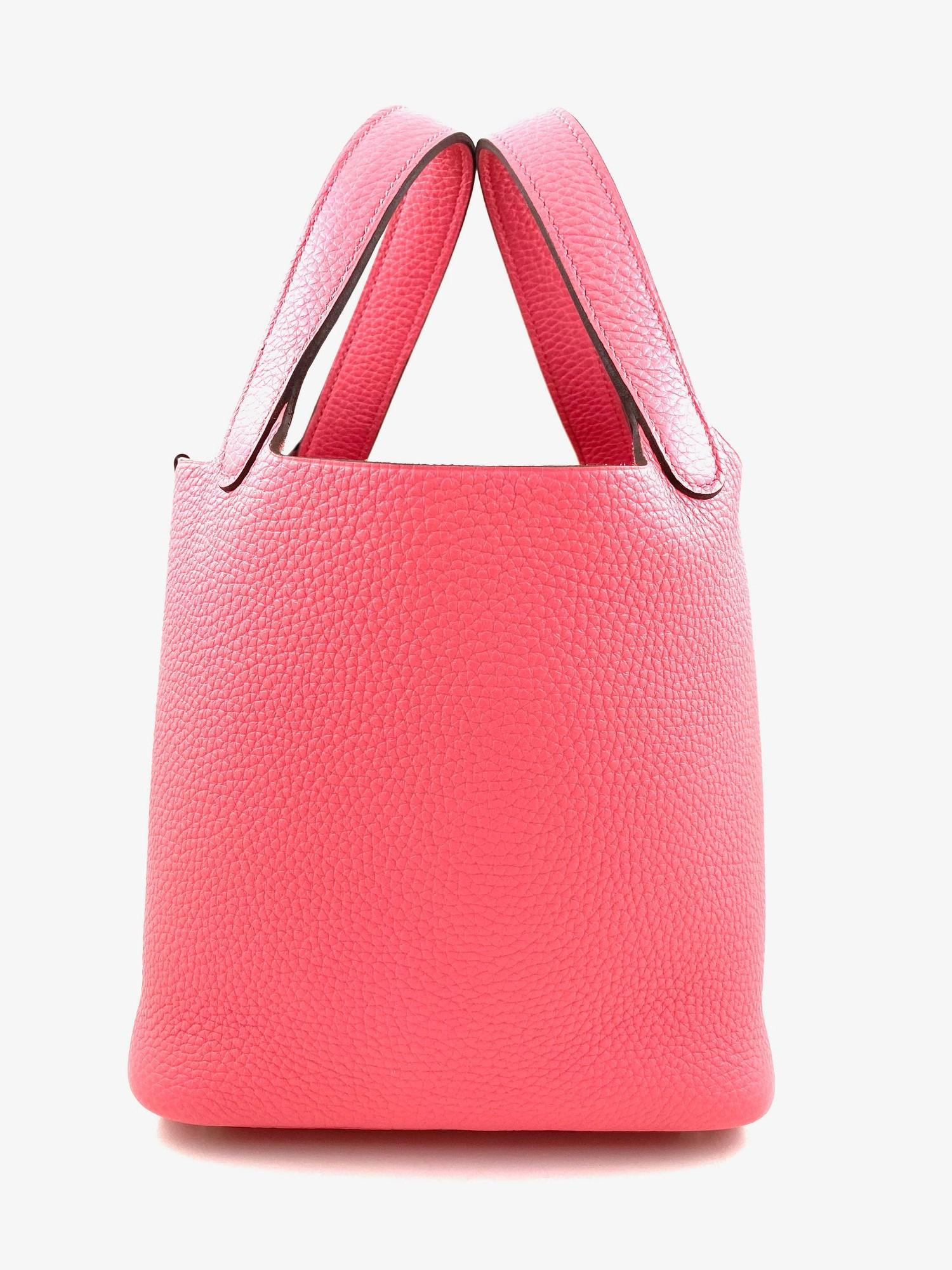 A Rose Azalee Hermes Picotin 18cm in clemence leather with palladium hardware. Includes Box, Dustbag