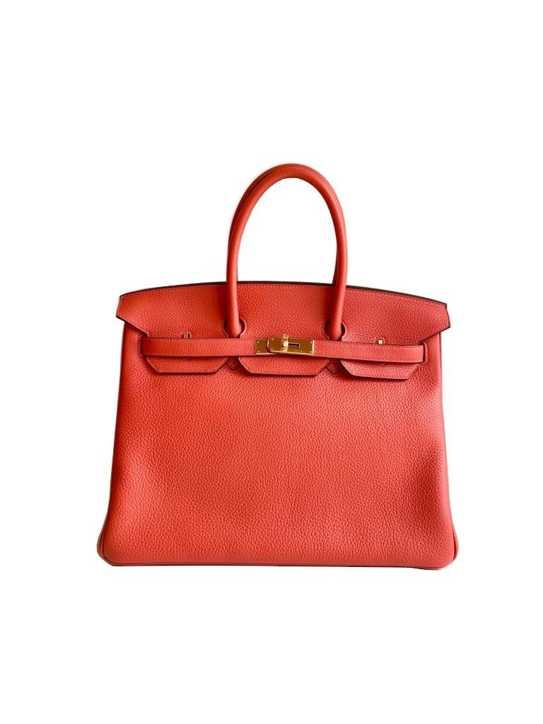A Rouge Pivoine Hermes Birkin 35cm in clemence leather with gold hardware. Includes Box, Dustbag,