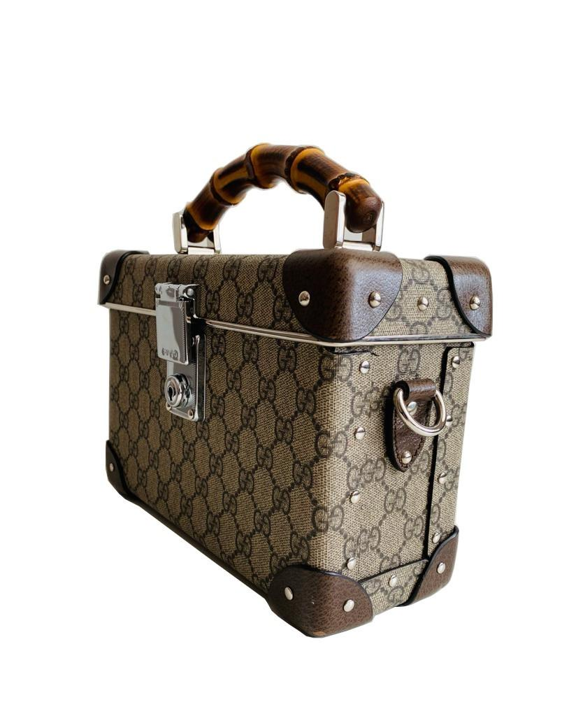 A Gucci Globe Trotter beauty case GG canvas with leather trim and bamboo handle. Includes Strap & - Image 5 of 10