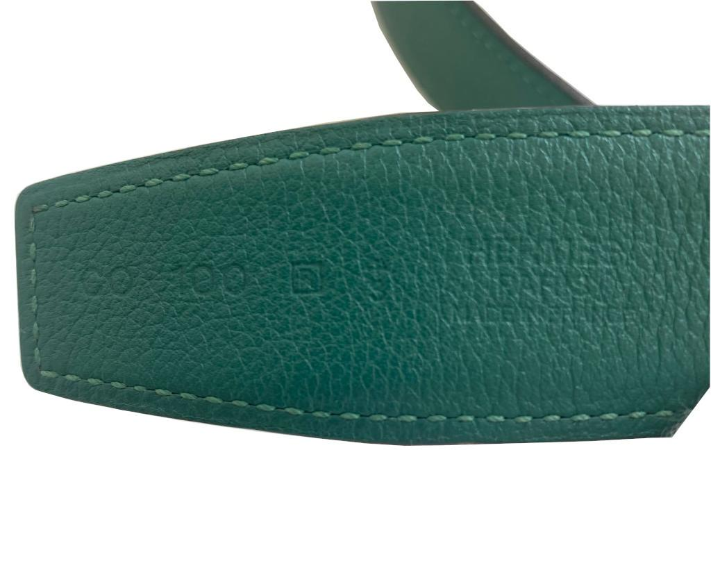 A Hermes Constance Reversible Belt Malachite & Dark Blue Epsom/Swift leather with gold hardware. - Image 2 of 5