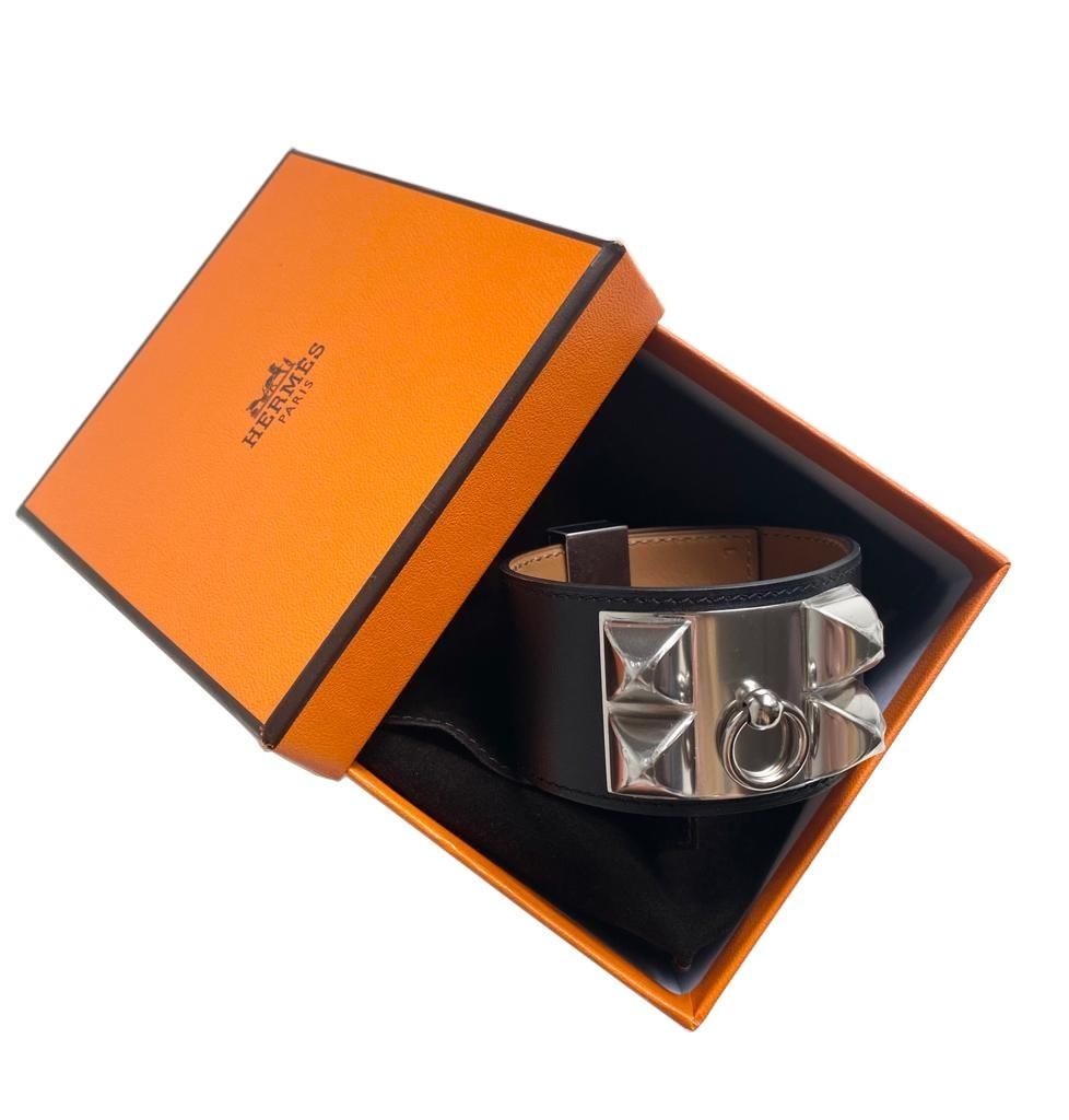 A Hermes Bracelet Collier de Chien black in swift leather with silver hardware. Includes Box. Size - Image 5 of 5