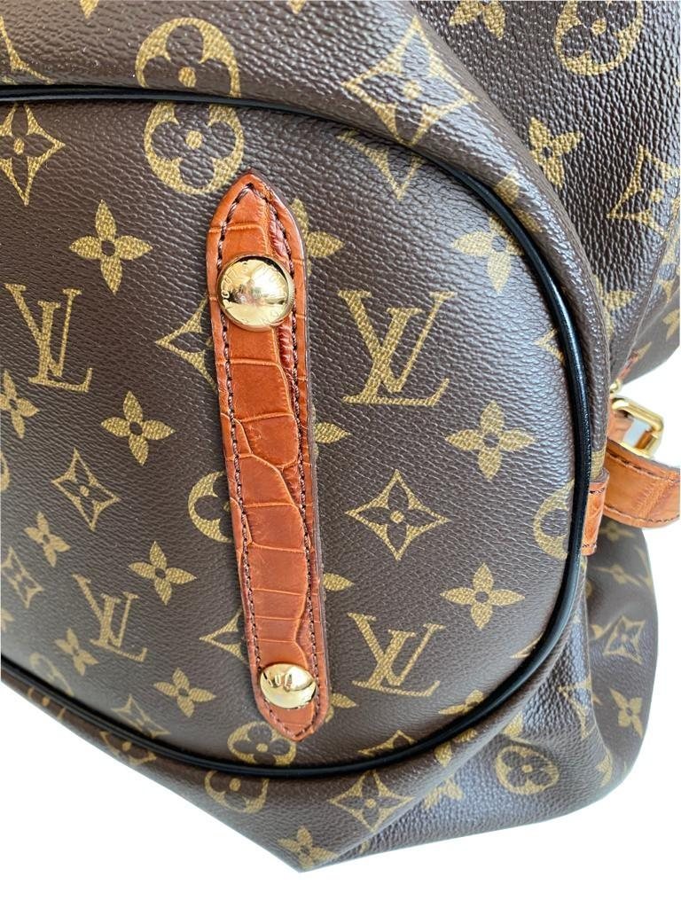 A Louis Vuitton Mahina XL Crocodile Trim Tote in Monogram canvas leather and gold hardware. Includes - Image 9 of 16
