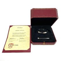 An authentic 18ct white gold 4 diamond Cartier Love bracelet / bangle with original screw, box and