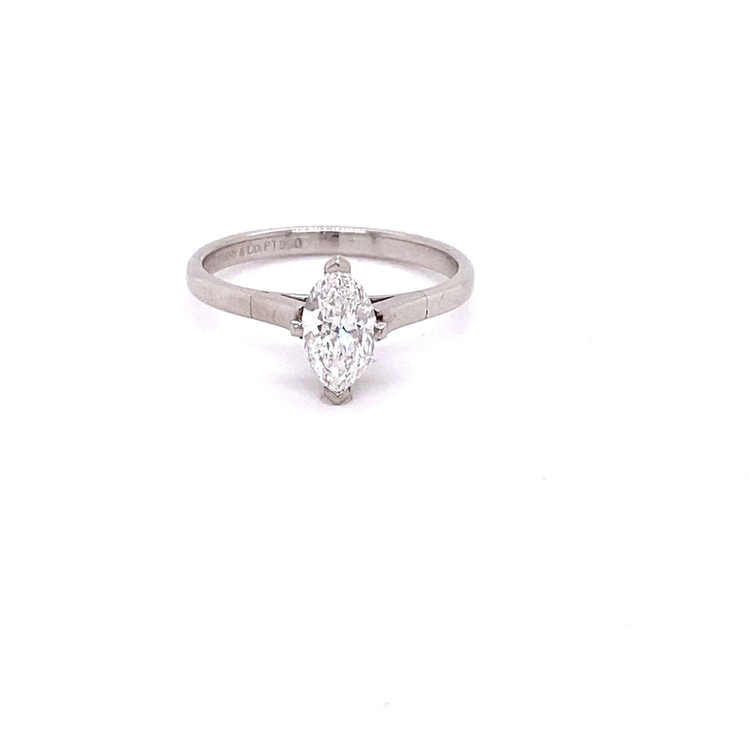 A Contemporary 0.70ct Tiffany Marquis diamond solitaire ring mounted in platinum. The central - Image 2 of 2