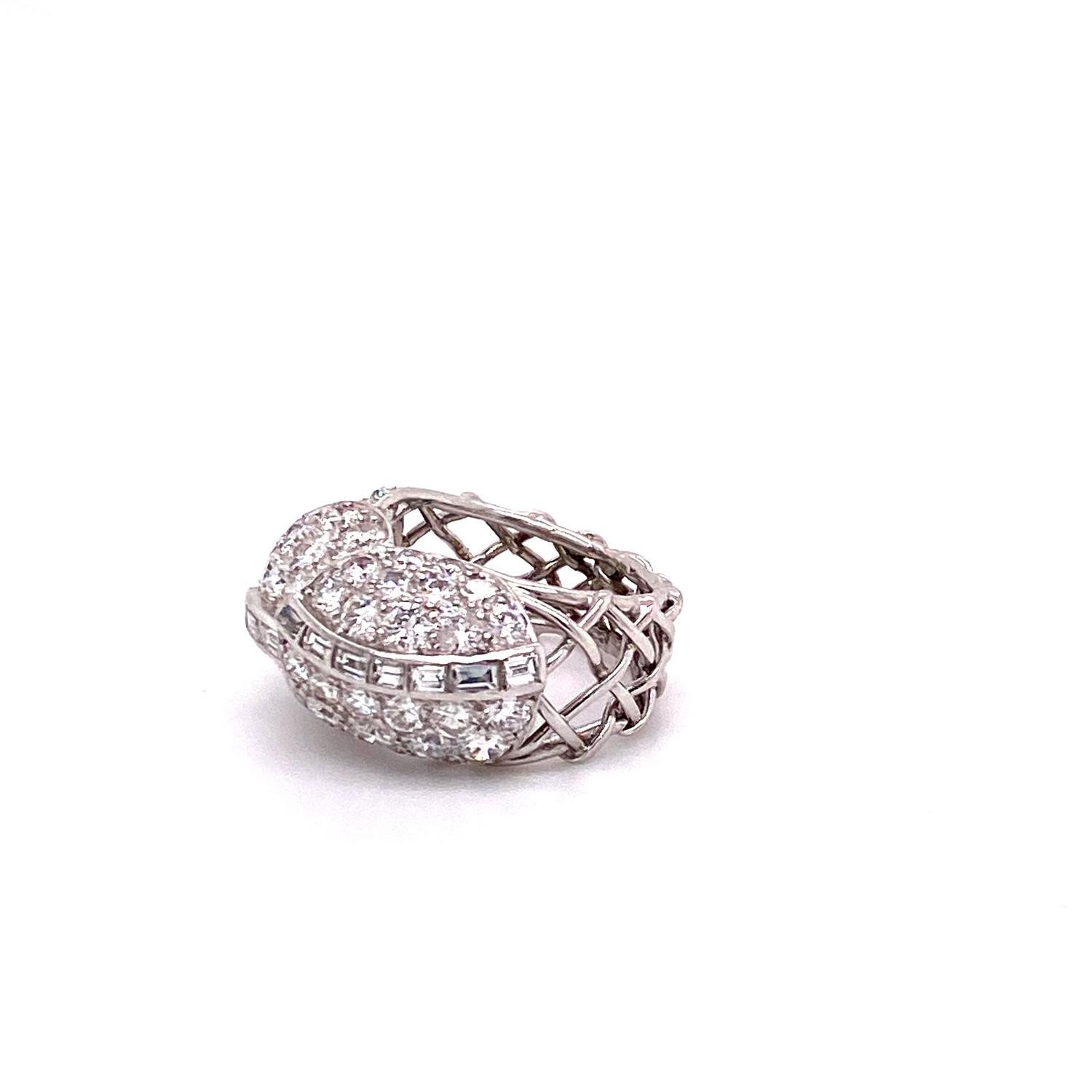 A 1950's Cartier Cocktail Ring, Cartier baguette and brilliant cut pave set dome top bombe ring - Image 6 of 8