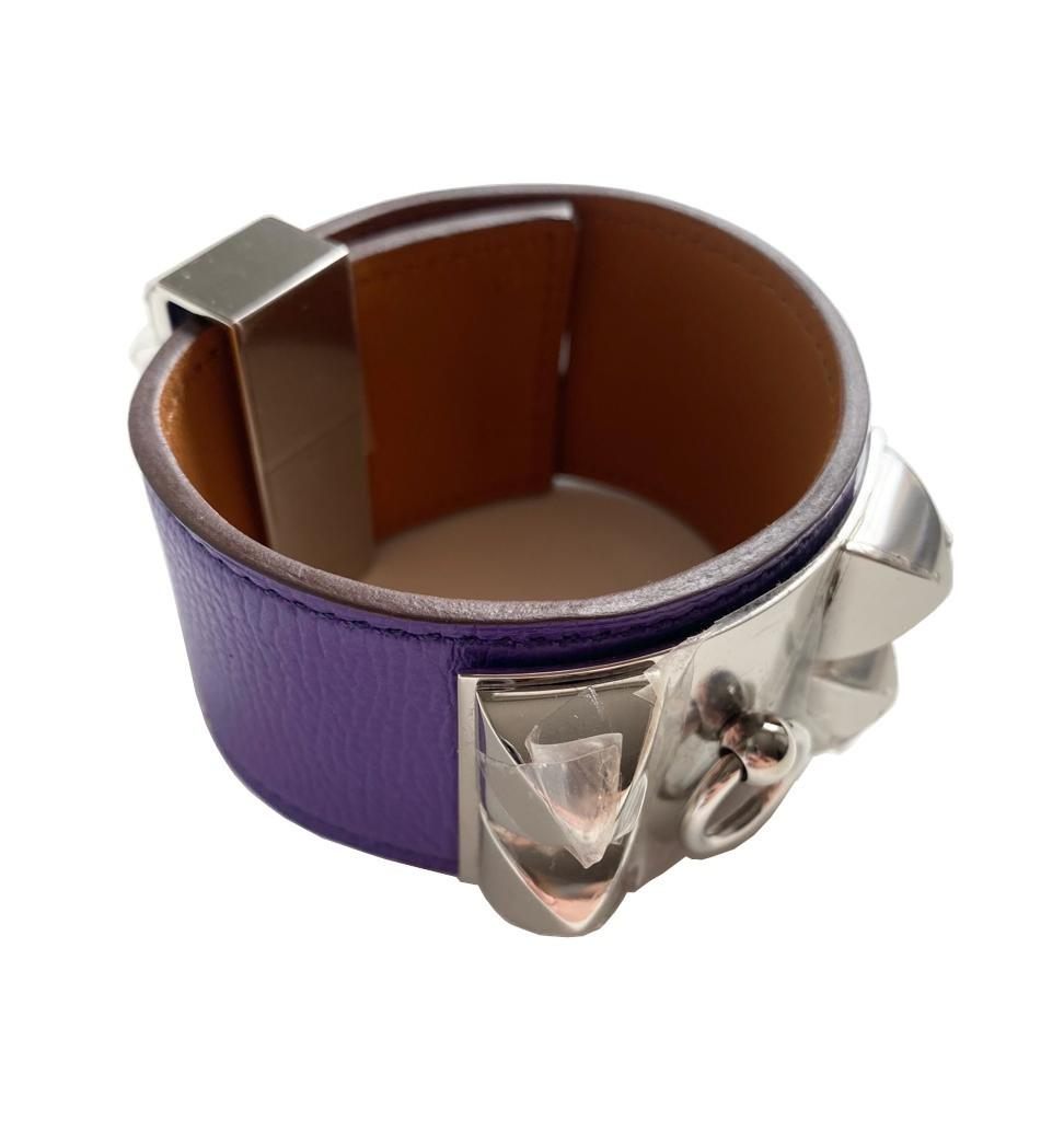 A Hermes Bracelet Collier de Chien Iris in Epsom leather with silver hardware. Includes Box, size