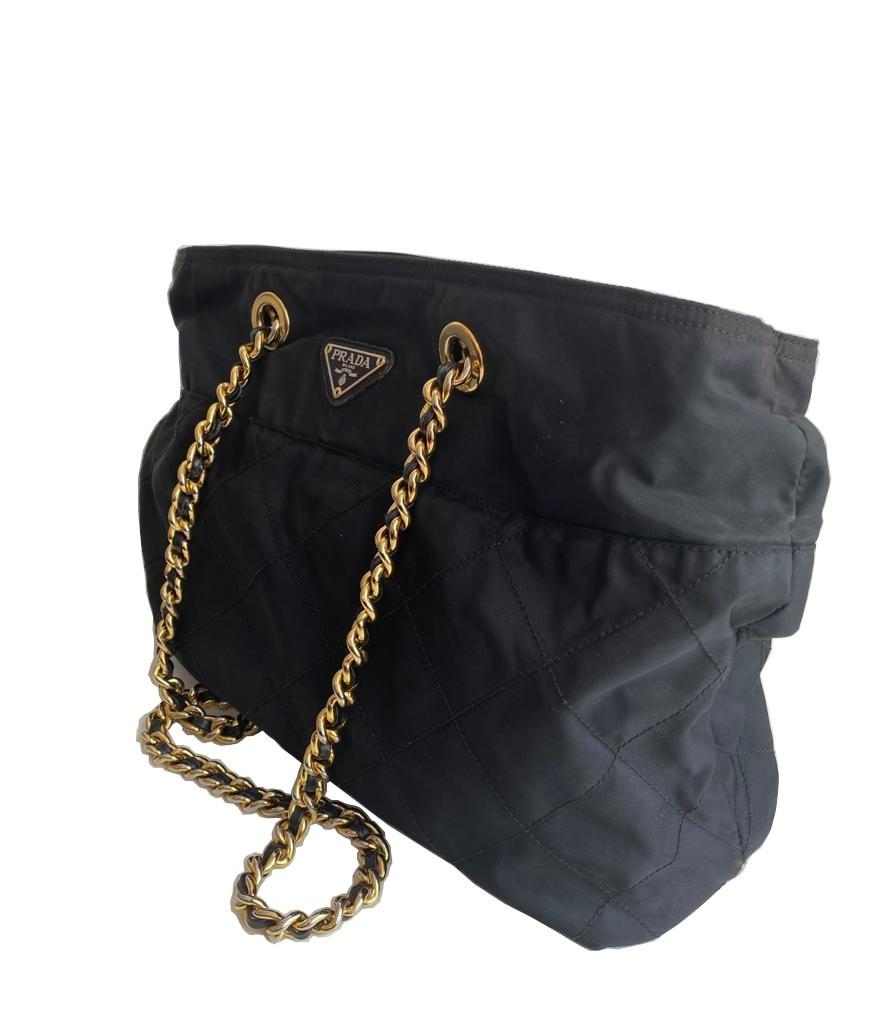 A Prada Tessuto black quilted nylon with gold hardware. W.36cm x H.27cm x D.10cm - Image 3 of 7