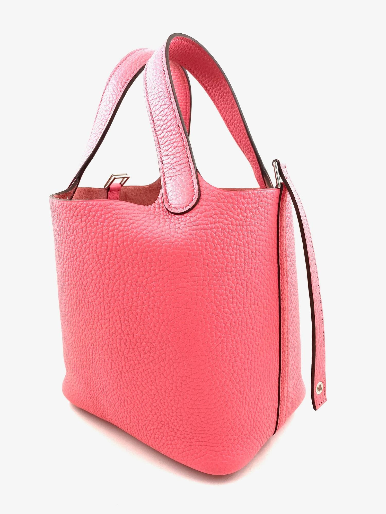 A Rose Azalee Hermes Picotin 18cm in clemence leather with palladium hardware. Includes Box, Dustbag - Image 5 of 5