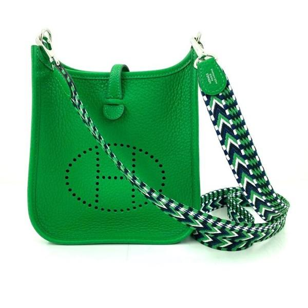 A Hermes Bamboo Mini Evelyne in clemence leather with palladium hardware. Includes Box, Dustbag &