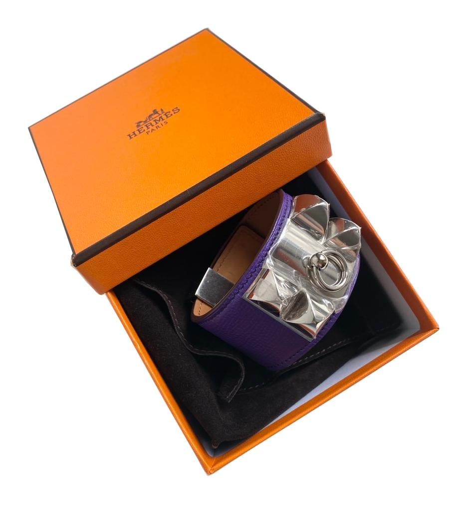 A Hermes Bracelet Collier de Chien Iris in Epsom leather with silver hardware. Includes Box, size - Image 5 of 5