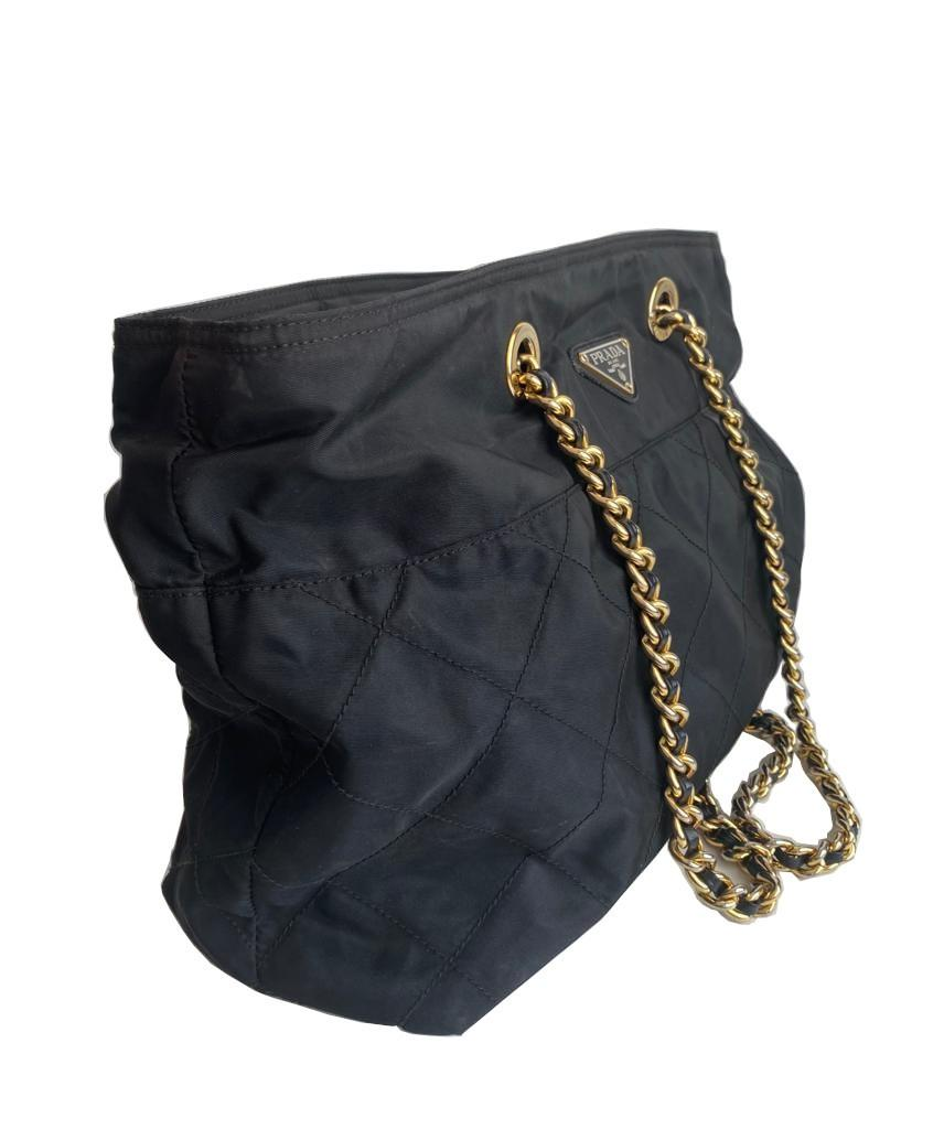 A Prada Tessuto black quilted nylon with gold hardware. W.36cm x H.27cm x D.10cm - Image 4 of 7