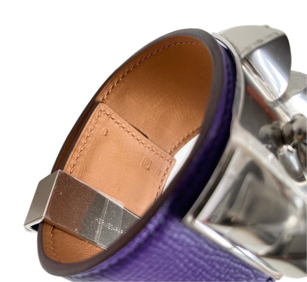 A Hermes Bracelet Collier de Chien Iris in Epsom leather with silver hardware. Includes Box, size - Image 4 of 5