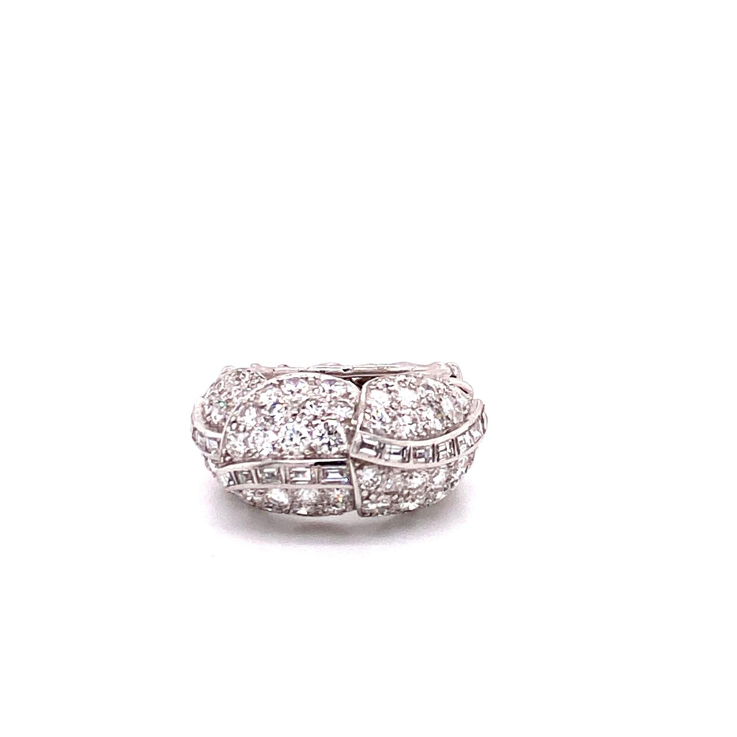 A 1950's Cartier Cocktail Ring, Cartier baguette and brilliant cut pave set dome top bombe ring - Image 4 of 8