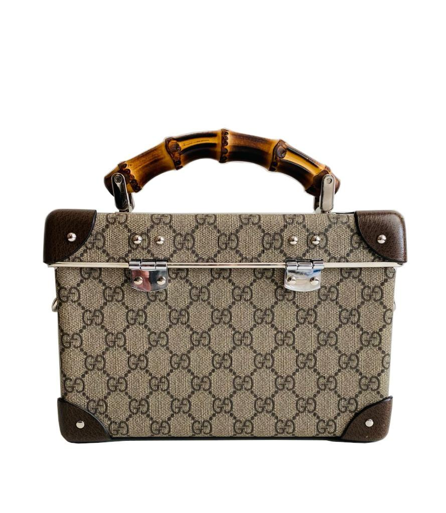 A Gucci Globe Trotter beauty case GG canvas with leather trim and bamboo handle. Includes Strap & - Image 4 of 10