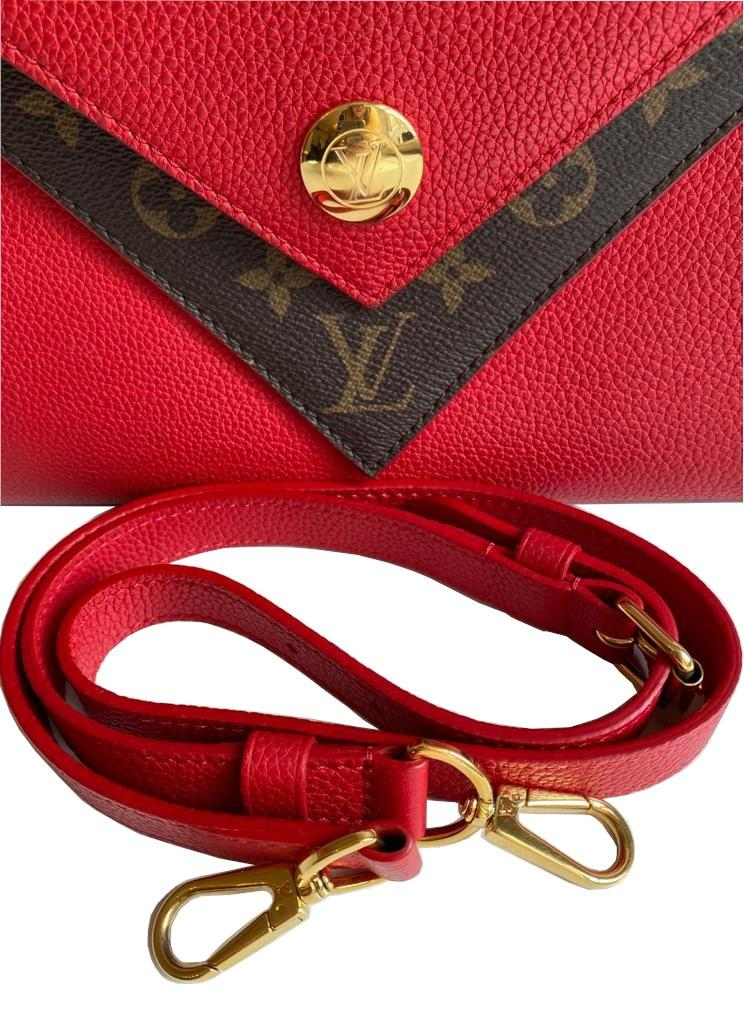 A Louis Vuitton Double V red calf leather and gold hardware. Includes Dustbag, W.28cm x H.20cm x D. - Image 8 of 11