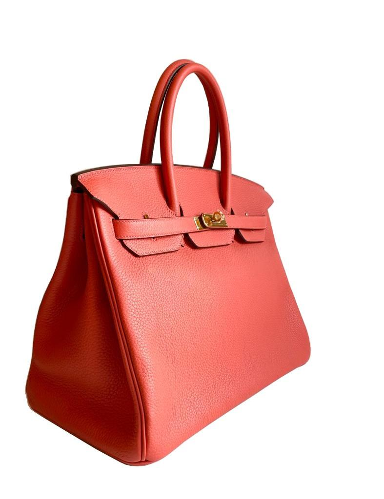 A Rouge Pivoine Hermes Birkin 35cm in clemence leather with gold hardware. Includes Box, Dustbag, - Image 2 of 5