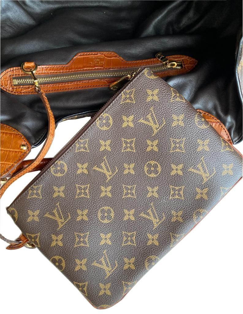 A Louis Vuitton Mahina XL Crocodile Trim Tote in Monogram canvas leather and gold hardware. Includes - Image 12 of 16