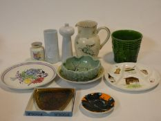 A collection of studio pottery. Including four pieces of Poole pottery, one in original Poole box,