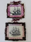 """Two Sunderland Ware style lustre square dishes with central ship designs one of """"Agamemnon"""". H.20"""