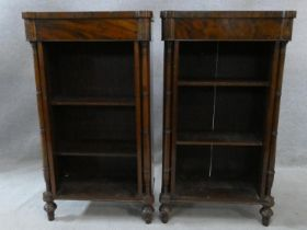 A pair of 19th century figured mahogany dwarf open bookcases fitted with adjustable shelves