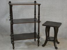 A Victorian mahogany three tier whatnot and a carved Eastern hardwood occasional table. H.84 W.55