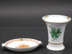 Herend porcelain, a painted waisted vase and a small tray. H.10.5 W.9.5cm (vase)