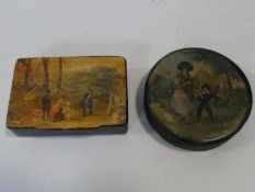 Two antique hand painted black papier-mâché snuff boxes one with a mother and a young boy and one