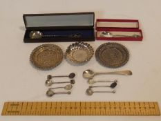 A collection of silver, white metal and silver plate items. Including a collection of mustard