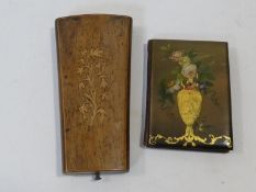 A Victorian papier-mâché painted and gilded aide-mémoire, with pencil along with a blue velvet lined