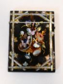 A 19th century paper mache, gilded and mother of pearl inlaid card case with mother of pearl