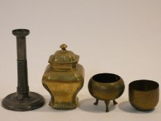 A collection of antique metal work items. Including an Art Nouveau foliate and floral design