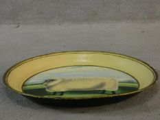 A large vintage folk art enamel and lacquered tray with hand painted decoration. D.50cm