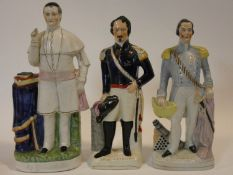 Three 19th century Staffordshire flat back figures, one of Napoleon, also an army officer, along