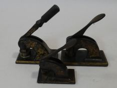 Three various Victorian seal press machines each hand painted in gilt. H.22 L.15 W.8cm