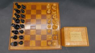 A Jaques & Son Staunton chess set, in black and natural wood, together with a mahogany box with