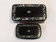 Two Victorian black papier-mâché snuff boxes inlaid with chips of abalone shell, and a shell border.